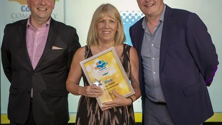 Comet Community Awards 2018: Sue Plummer, winner of the Service to the Community award, with Graham