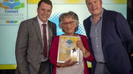 Comet Community Awards 2018: Good Neighbour of the Year winner Vivien Byron with Craig Taylor from s