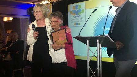 Good Neighbour award winner Vivien Byron, centre, with the woman who nominated her, Mary. David Crof