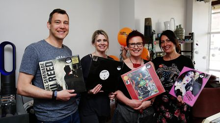 Stylus Lounge owner Jason Kitchener (left) with some of his team on Record Store Day 2018. Picture: