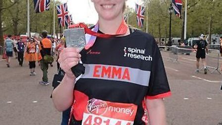 Emma Jessup completed the marathon in aid of Spinal Research. Picture: Courtesy of Emma Jessup