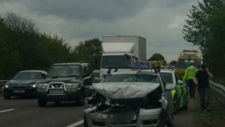 A three-vehicle crash is causing queuing in both directions between Stevenage and Welwyn. Picture: T