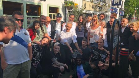 Cast and crew of new psychological thriller Heckle were at Misya in Stevenage High Street today. Pic