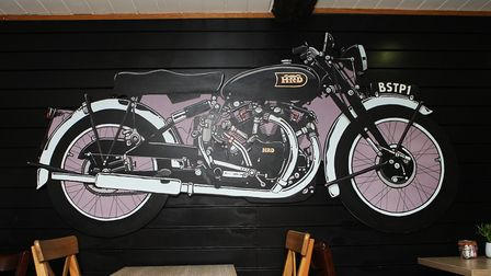 The Vincent painting which is now on display at Bike Stop in Stevenage Old Town.Picture: Karyn H