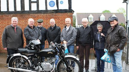 Stevenage Bike Stop director Martin Brown with Paul Adams from the Vincent Owners Club and artist St