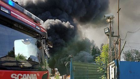 Fire crews at the scene of the electrical fire in Cadwell Lane, Hitchin. Picture: Chris Martin