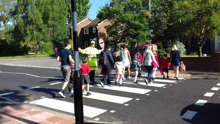 The new Wymondley Road zebra crossing for William Ransom pupils is launched in Hitchin. Picture: Wil