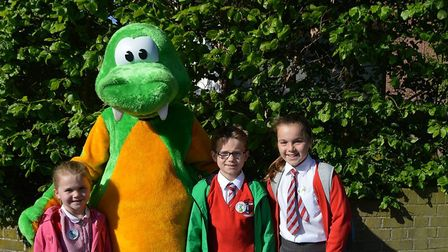 William Ransom pupils with the walking mascot Buster. Picture: William Ransom Primary School