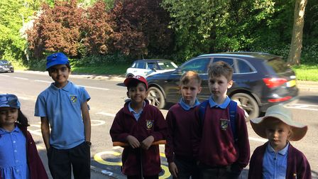 Mary Exton Primary School youngsters on the south side of Wymondley Road in Hitchin. Picture: Fiona