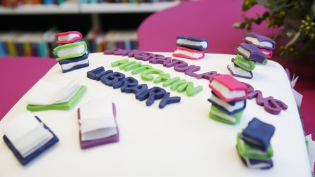 A cake made by Hitchin Library manager Rebekah Nicolas to celebrate the official reopening of Hitchi