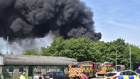 Emergency services near the scene of the fire in Hitchin's Cadwell Lane during the height of the bla