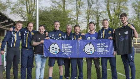 Dan Prowse, third from right, with Hitchin Town FC players and staff ahead of the fundraiser in aid