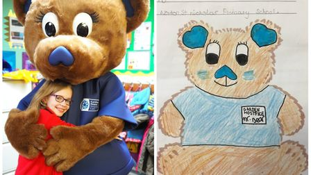 Beth Jenkins' Garden House Hospice Care mascot design entry came to life. Picture: Beth Jenkins