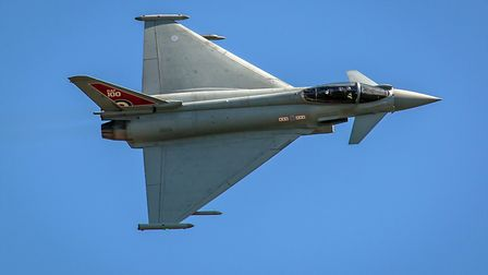 The RAF's Eurofighter Typhoon roars over Old Warden at the Shuttleworth Collections RAF 100 air show
