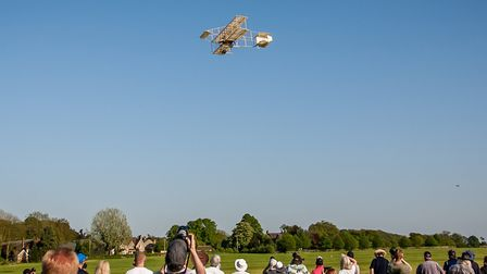 All eyes were on the sky as the Boxkite soared through the sunny skies of Bedfordshire. Picture: Nic