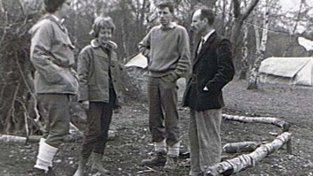 Ken Maynard, second from right, on the first Nobel School visit to Cuffley Camp in 1962 with his wif