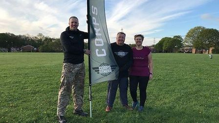 Owner of Corps Fitness, Sam Austen, and Stevenage couple Paul and Mary Worsley are ready to sweat fo