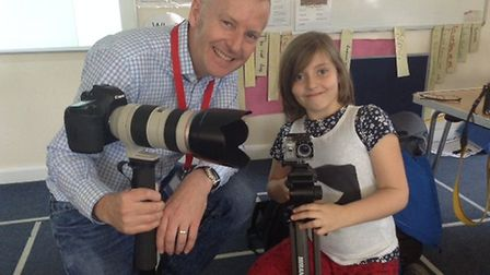 Photographer Ian Miles told the children all about his career as a photographer. Picture: Gothic Med