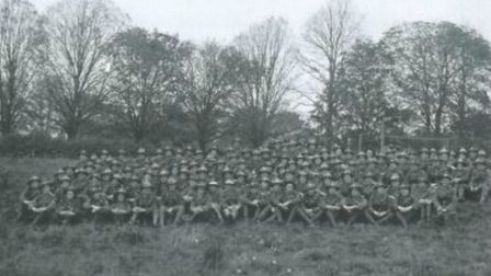The New Zealand Reserve Signal Company pose for a photo at Bury Mead, Stevenage on October 8, 1918.