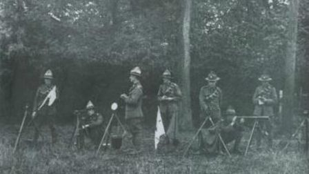 Kiwi troops training in Whitney Wood opposite the current site of John Henry Newman School. Sgt G.V.