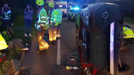 The scene after the crash in St Michael's Road. Picture: Hitchin Fire Station