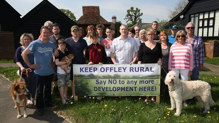 Some of the Keep Offley Rural campaigners opposing Gladman's development plans for the village. Pict