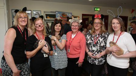 Staff with some of the animals at the Shefford and District Children's Centre 10th birthday celebrat