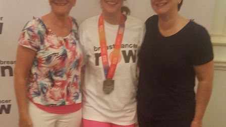 Jane ran the marathon in honour of best friend Louise (right), Louise's mum Rosie (left), their fami