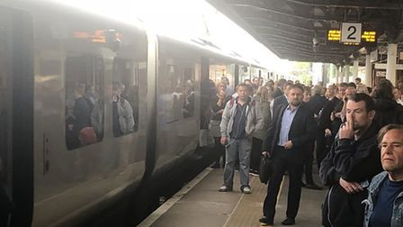 The scene at Hitchin railway station as passengers physically blocked the train's doors to stop it l
