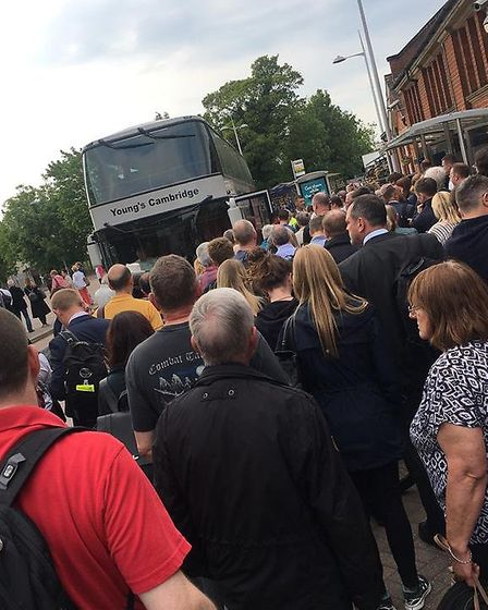 Amid the protest, a massive queue formed outside the station for the replacement buses north with m