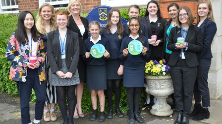 Hitchin Girls' School head Frances Manning, staff and students show their support for the initiative
