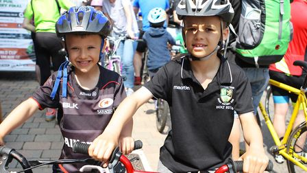 Stevenage Tour Series 2018: Six-year-old Ash Lacey with brother Finn, eight. Picture: Karyn Haddon