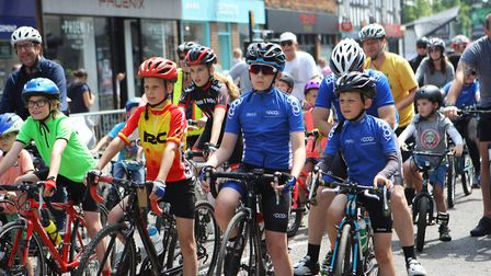 Stevenage Tour Series 2018: Taking part in the community ride prior to the professional racing.P