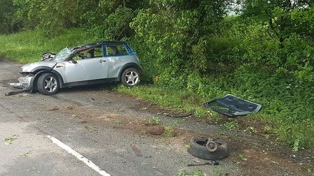 The scene after the crash on the B656 south of Hitchin. Picture: Hitchin Fire Station
