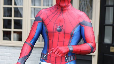 Liam Brown dressed as Spider-Man at the fundraiser.Picture: Karyn Haddon