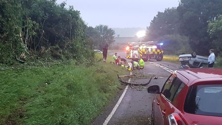 The scene after the crash in Lilley. Picture: Hitchin Fire Station
