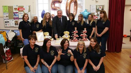 Bedford Road pre-school staff celebrates its 50th birthday with MP Sir Oliver Heald. Picture: DANNY