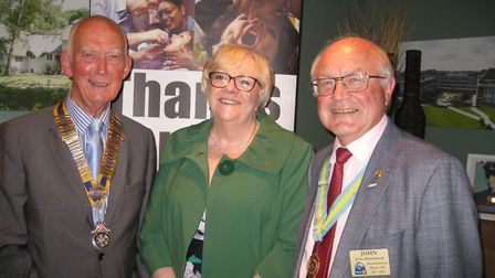 L-R: Club president Peter Jackson, first female member Yvonne Sonnen and assistant district governor