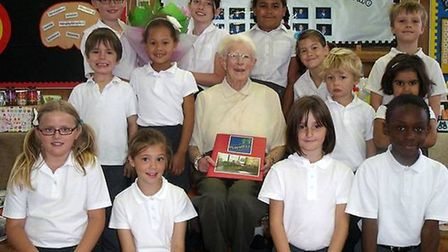 Joan Williams in 2011, aged 91, when she stepped down after 15 years volunteering at Purwell Primary