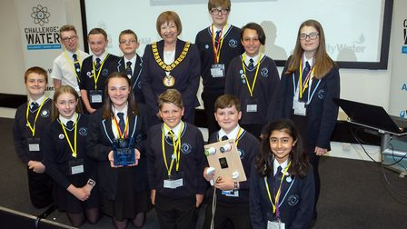 Students from Barnwell School with the deputy mayor of Welwyn and Hatfield, Councillor Barbara Fitzs