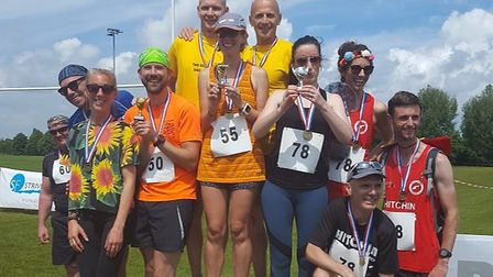The mixed-team podium at the Hitchin Relay Race, with Anna Fake's team Two Boiled Eggs and a Soldier