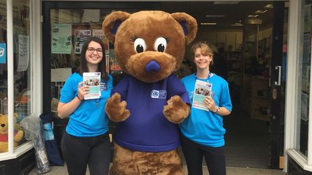 The hospice's We Care Bear with Voluntary Services Coordinator and student placement volunteer Laura