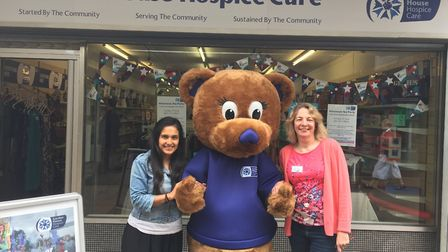 Garden House Hospice Care's mascot with volunteers from the Hitchin Churchgate shop. Picture: Garden