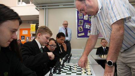 Fearnhill pupils play a chess Simul with International Chess Master Paul Littlewood. Picture: DANNY
