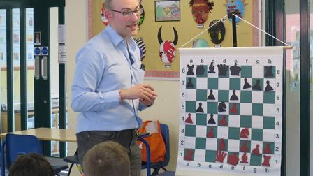 Matthew Sadler gave a tactic demonstation at the Pixmore chess tournament. Picture: Tom Coates