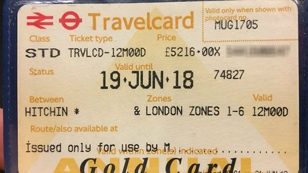 The erroneous travelcard sold by Great Northern to Simon Lucas at Hitchin. Picture: Simon Lucas