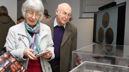 March 2018: Janet and Robert Sunderland enjoy looking at the Kelshall Treasures in the North Hertfor