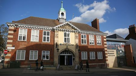 February 2018: Hitchin Town Hall and the would-be North Hertfordshire Museum entrance at 14/15 Brand