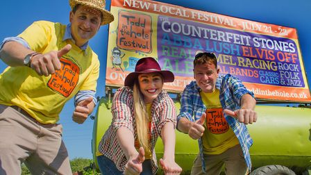 Todd in the Hole Festival co-founder David Nye, manager Nicola Gates and co-founder Mark Watts. Pict