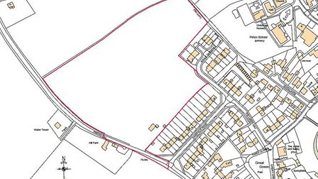 The site off Priors Hill in Pirton. Picture: The Edwards Irish Partnership LLP Architects & Surveyor